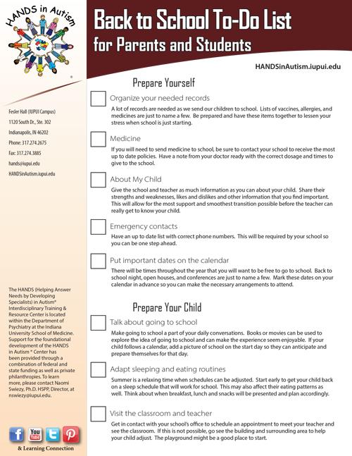 Back To School Mini Checklist
