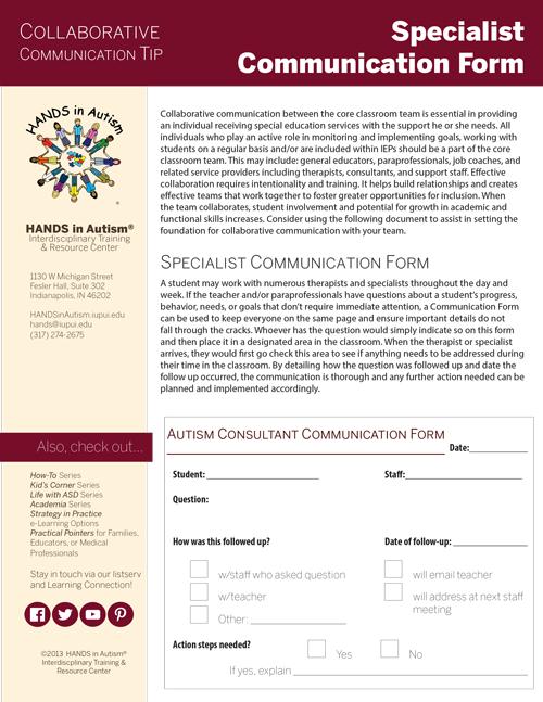 Specialist communication form thumbnail