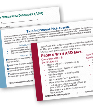 Autism Information Cards (click to download)