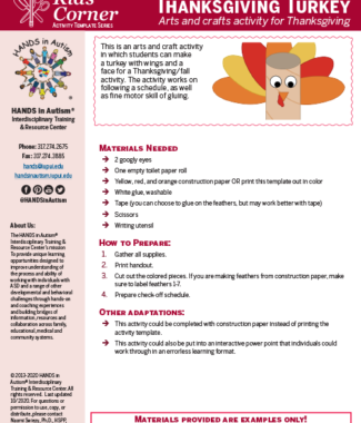First page of Thanksgiving turkey craft